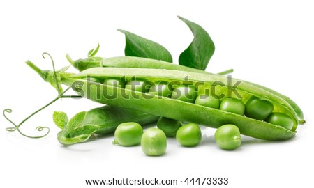 fresh pea in the pod with green leaves isolated on white background - stock photo
