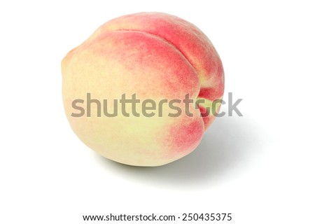 Fresh Peach Fruit on White Background