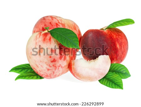 Fresh Peach Fruit with Cut and Green Leaves Isolated on White Background. Closeup. - stock photo