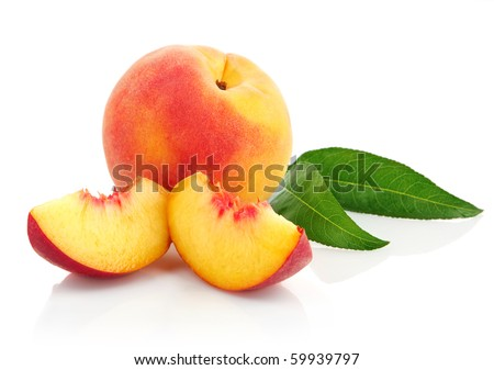 fresh peach fruits with cut and green leaves isolated on white background - stock photo