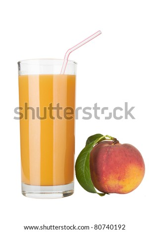 Fresh peach juice in glass isolated