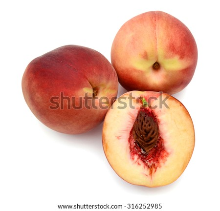 fresh peach on white background
