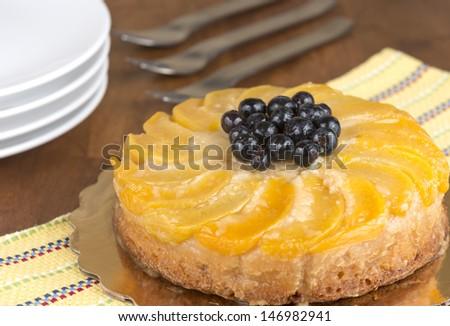 fresh peach upside down cake - stock photo