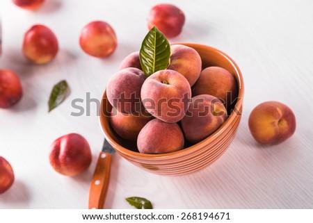 fresh peaches  - stock photo