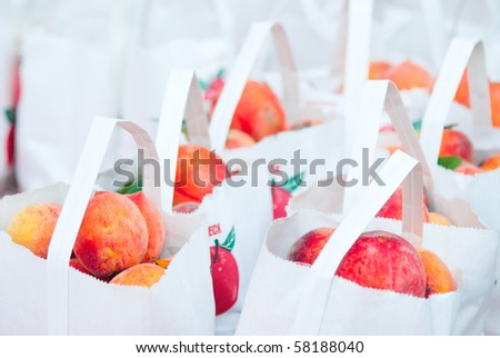 Fresh peaches for sale - stock photo