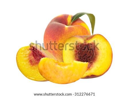 Fresh peaches isolated on white background - stock photo