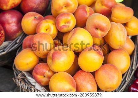 Fresh peaches on a market in Italy - stock photo