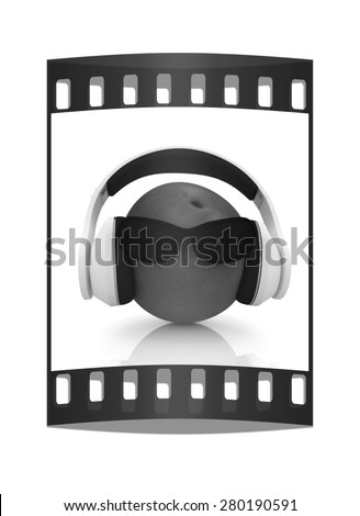 "fresh peaches with sun glass and headphones front ""face"" on a white background. The film strip - stock photo"