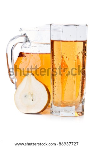 fresh pear and juice isolated on a white background