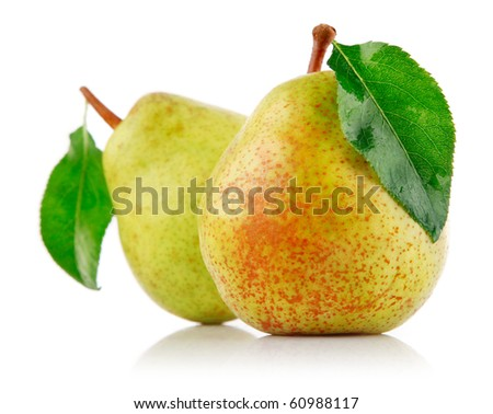 fresh pear fruits with green leaf isolated on white background - stock photo