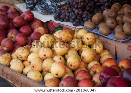 Fresh Pears at the Market - stock photo