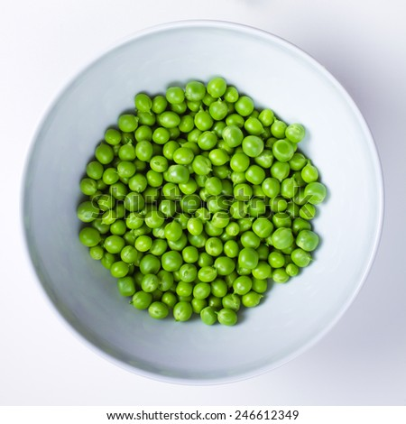 fresh peas - top view - stock photo