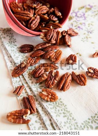 Fresh pecan nuts - stock photo