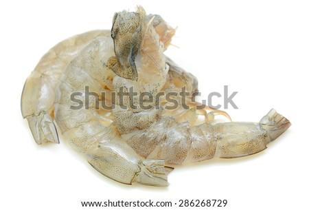 Fresh peeled uncooked shrimp isolated on white background - stock photo