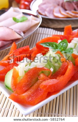 Fresh pepper salad with onion and tomato
