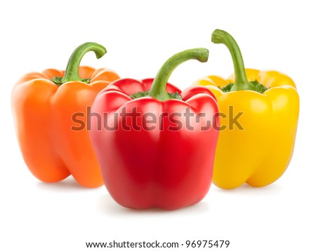 fresh pepper vegetables isolated on white background - stock photo