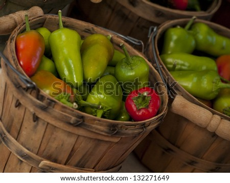 Fresh peppers at the local farmer's market. - stock photo