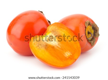 Fresh Persimmon fruit isolated on white background - stock photo