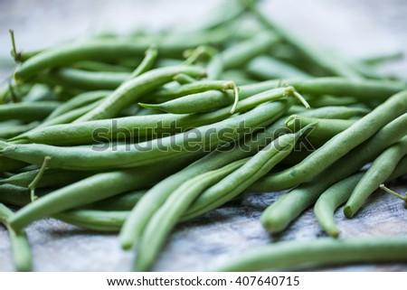 Fresh picked organic, healthy green beans - stock photo