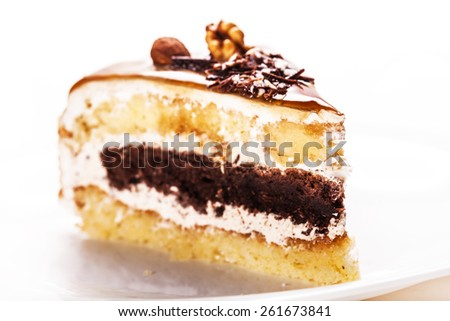 fresh piece of cake on a white background