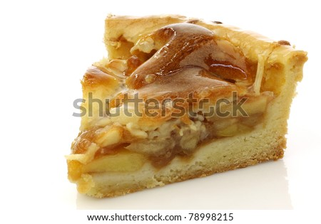 fresh piece of fresh apple pie on a white background - stock photo