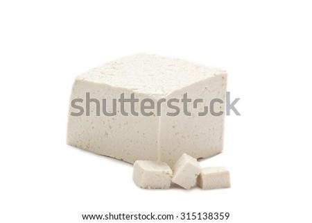 Fresh Piece of Tofu isolated on White background - stock photo