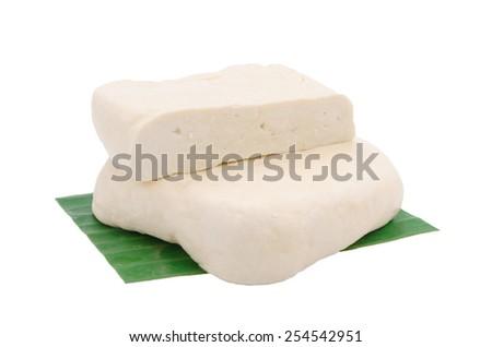 Fresh piece of tofu on white background - stock photo