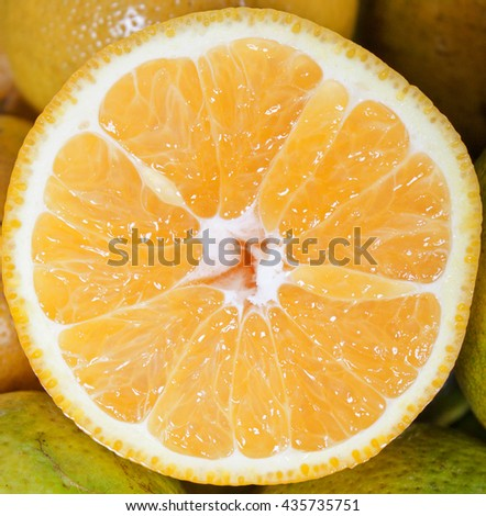 Fresh pieces of citrus fruits in detail - stock photo