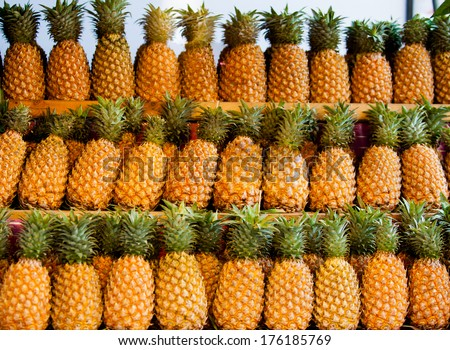 Fresh pineapple  for sale. - stock photo