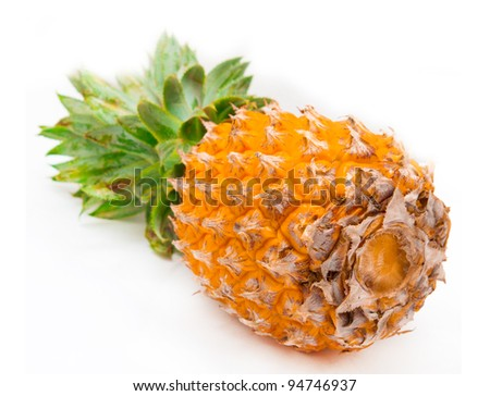 fresh pineapple fruits with green leaf isolated on white background