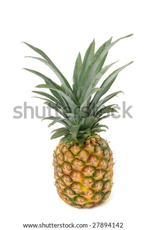 Fresh pineapple in front of a white background
