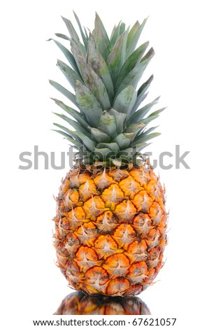 Fresh Pineapple isolated on white with reflection