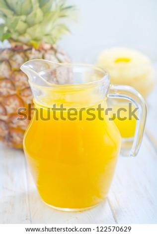 Fresh pineapple juice - stock photo