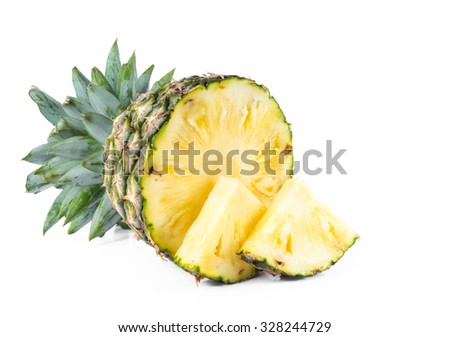 Fresh pineapple on a white background