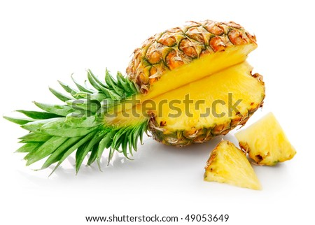 fresh pineapple with cut  isolated on white background - stock photo