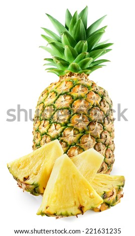 Fresh pineapple with slices isolated on white - stock photo