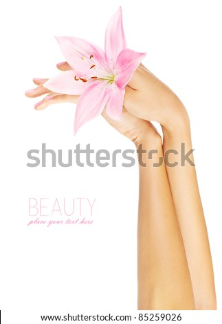Fresh pink lily in female hands, woman holding flower, isolated on white background, beauty, health care and spa concept