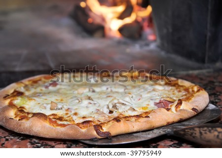 fresh pizza from oven