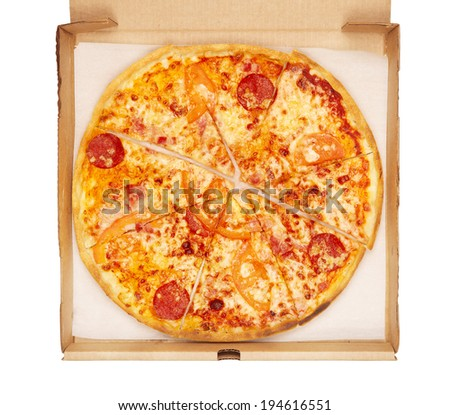 fresh pizza in box, isolated on white - stock photo