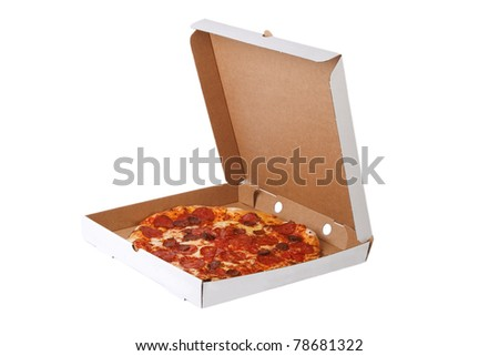Fresh pizza in plain open box isolated on white background, Delivered fast food concept - stock photo