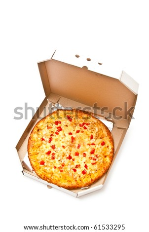 Fresh pizza in plain open box isolated on white. Light shadow - stock photo