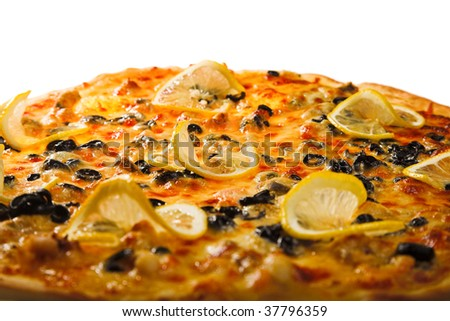 fresh pizza isolated on the white background