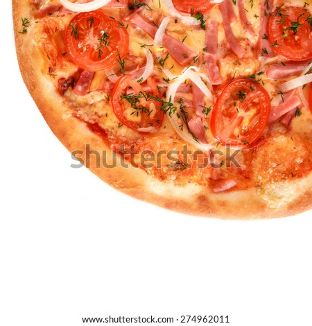 Fresh Pizza with Ham, Mozzarella Cheese and Fresh Tomato and Sauce. Garnished with baked Bacon, Onion and Greens isolated on white