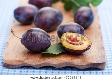 fresh plums - stock photo