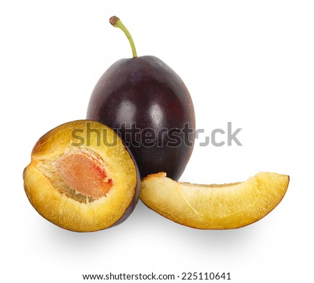 Fresh plums isolated on white background - stock photo