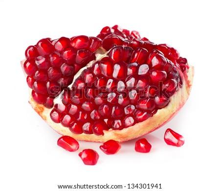 fresh pomegranate isolated on white background - stock photo