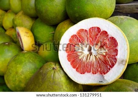 Fresh pomelo fruits - stock photo