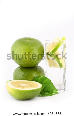 fresh pomelo on white background