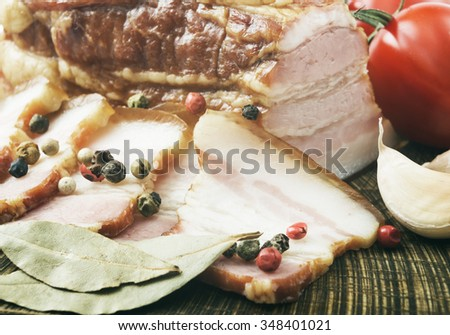 Fresh pork chop bacon and bacon and grilled BBQ - stock photo