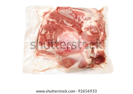 Fresh pork meat in vacuum packed  scapula - stock photo